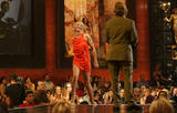 Cameron Diaz shows her long legs in orange short dress at Spike TV's 2nd Annual Guys Choice Awards